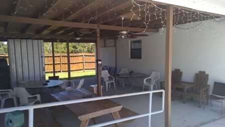 Our Smoking area and breezeway for outside assembly!